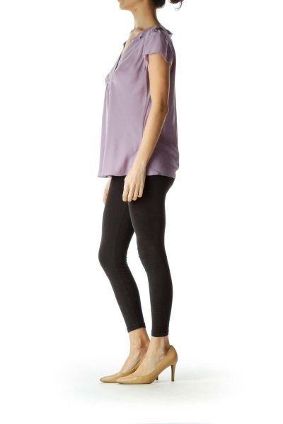 Purple Short Sleeve Silk Blouse