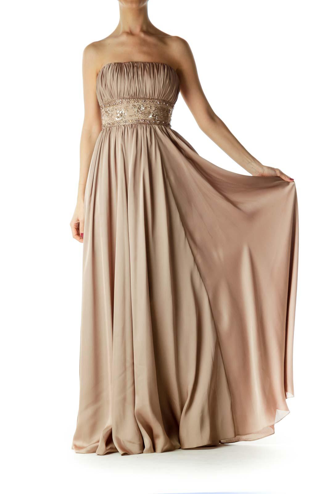 Gold Beaded Strapless Evening Dress