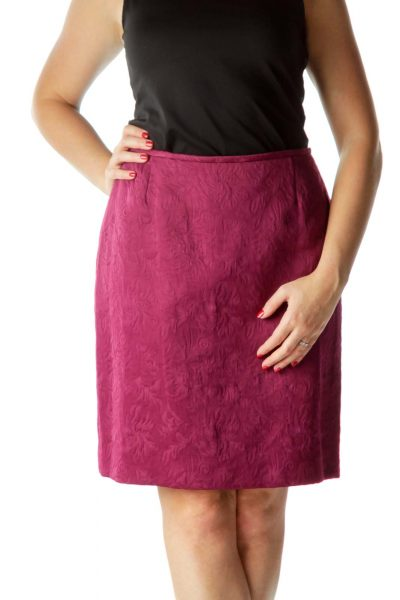 Purple Textured Print Pencil Skirt