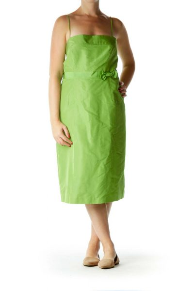 Green Silk Strapless Cocktail Dress