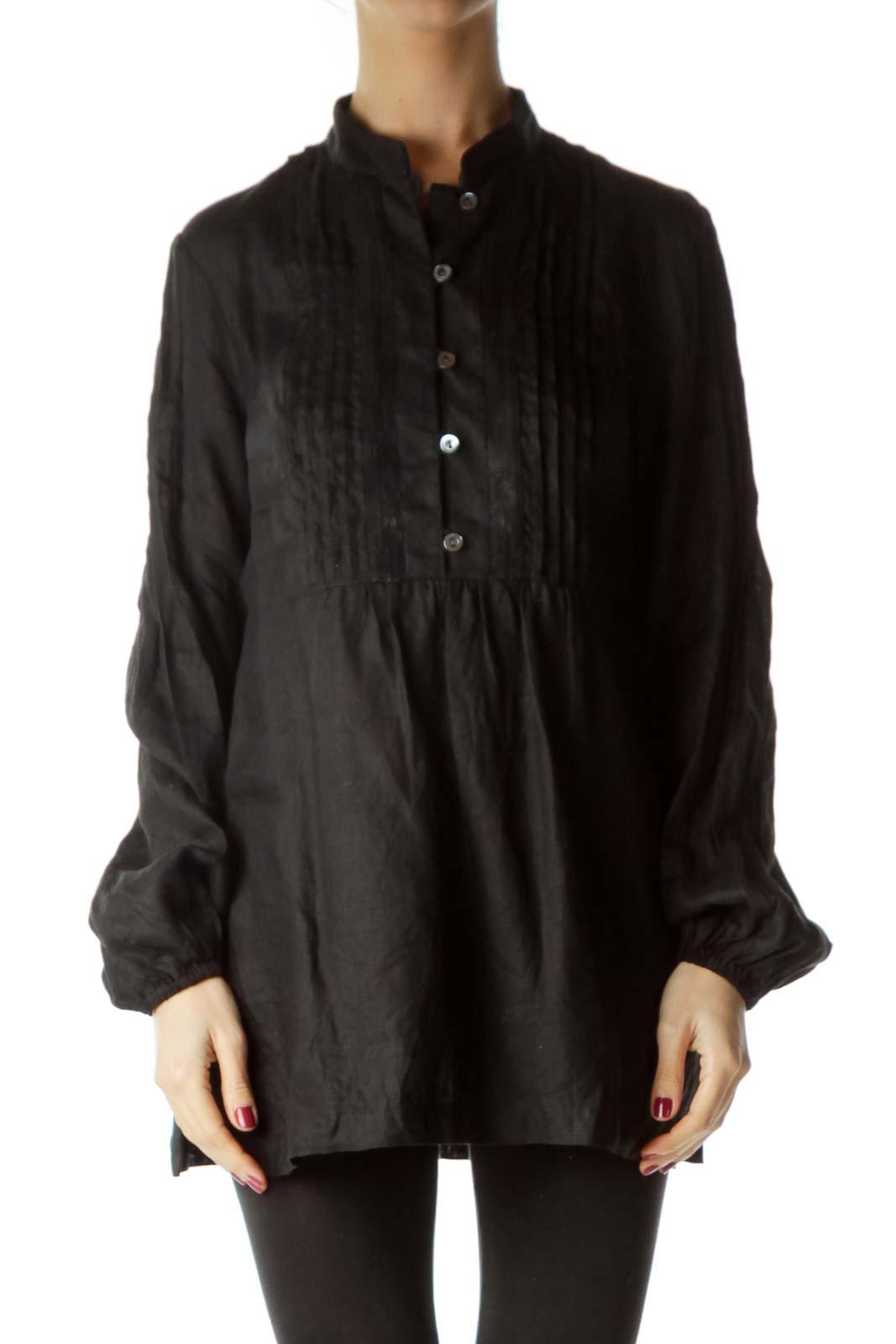 Black Linen Sequined Shirt
