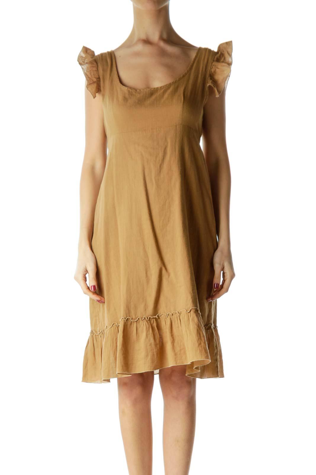 Brown Ruffled Cap Sleeve Day Dress