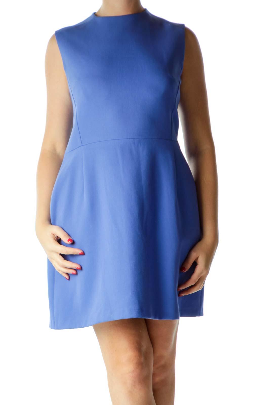 Blue Round Neck Sleeveless Work Dress
