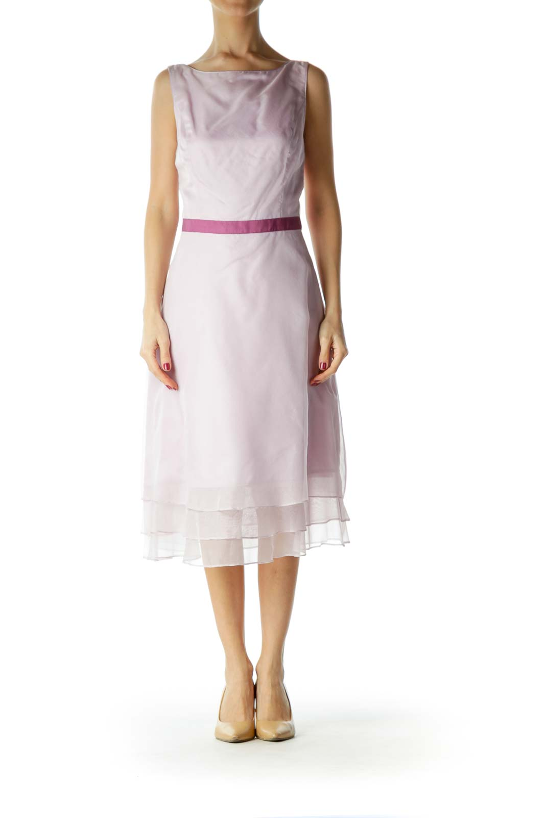 Purple Round Neck Cocktail Dress