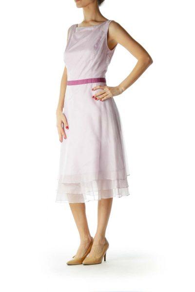 Purple Round Neck Cocktail Dress