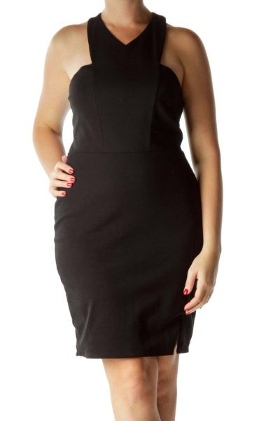 Black Racerback Fitted Cocktail Dress