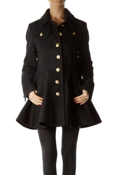 Black Flared Wool Coat