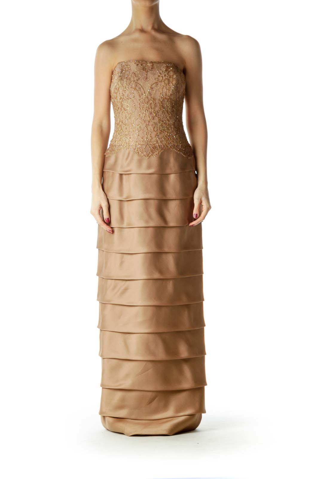 Brown Gold Lace Beaded Silk Evening Dress