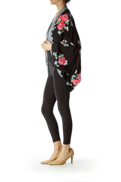 Black Bat-Sleeve Floral Printed Vest
