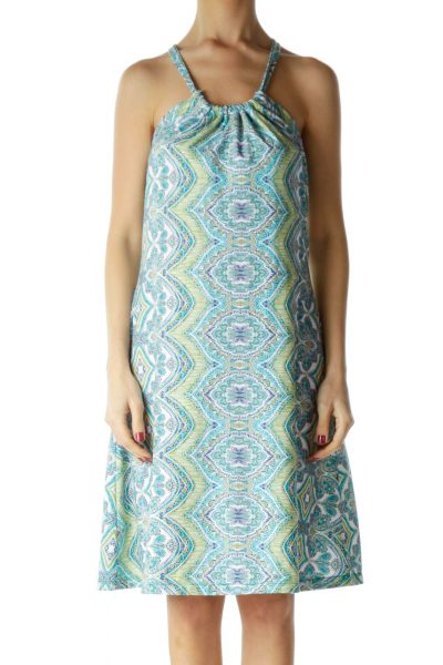 Blue Green Racerback Printed Day Dress