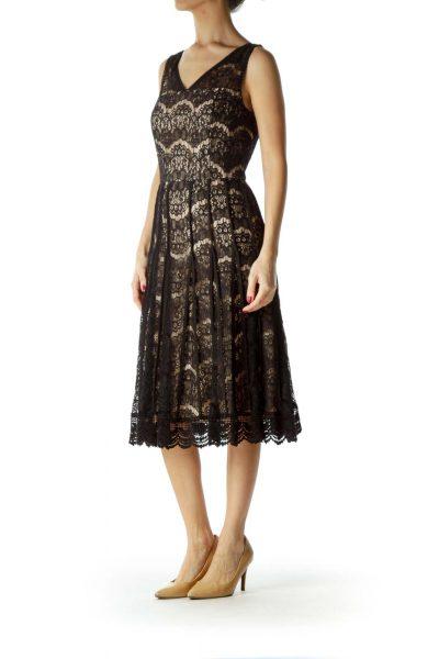 Black Beige Pleated Lace Cocktail Dress