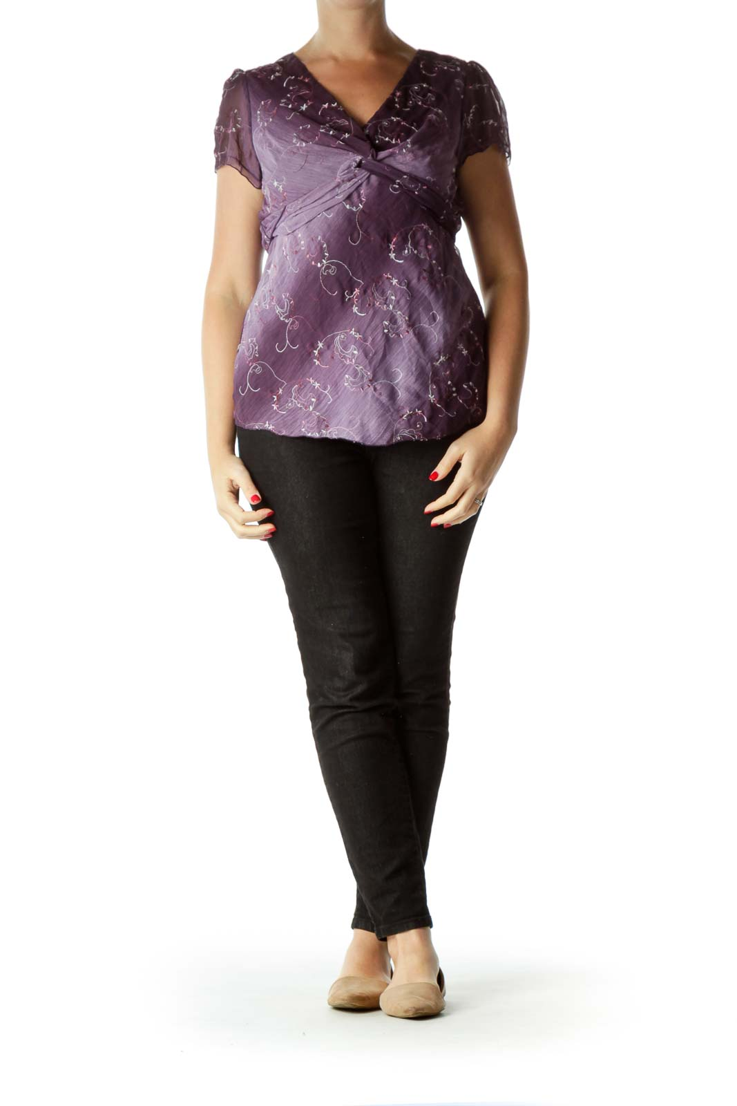 Purple Embroidered Short Sleeve Top