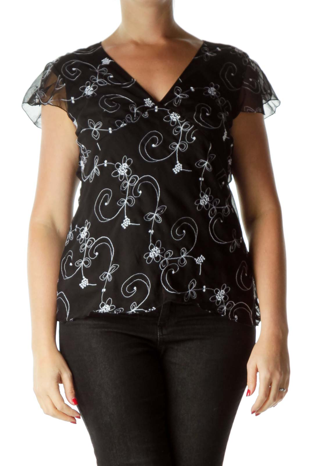 Black Embroidered Short Sleeve Top