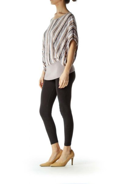 Beige White Striped Bat-Sleeve Knit Top