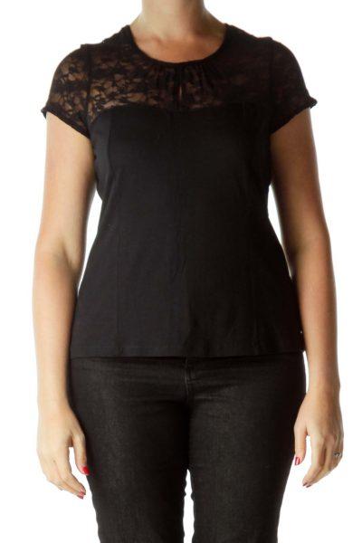 Black Lace Detail Short Sleeve Top