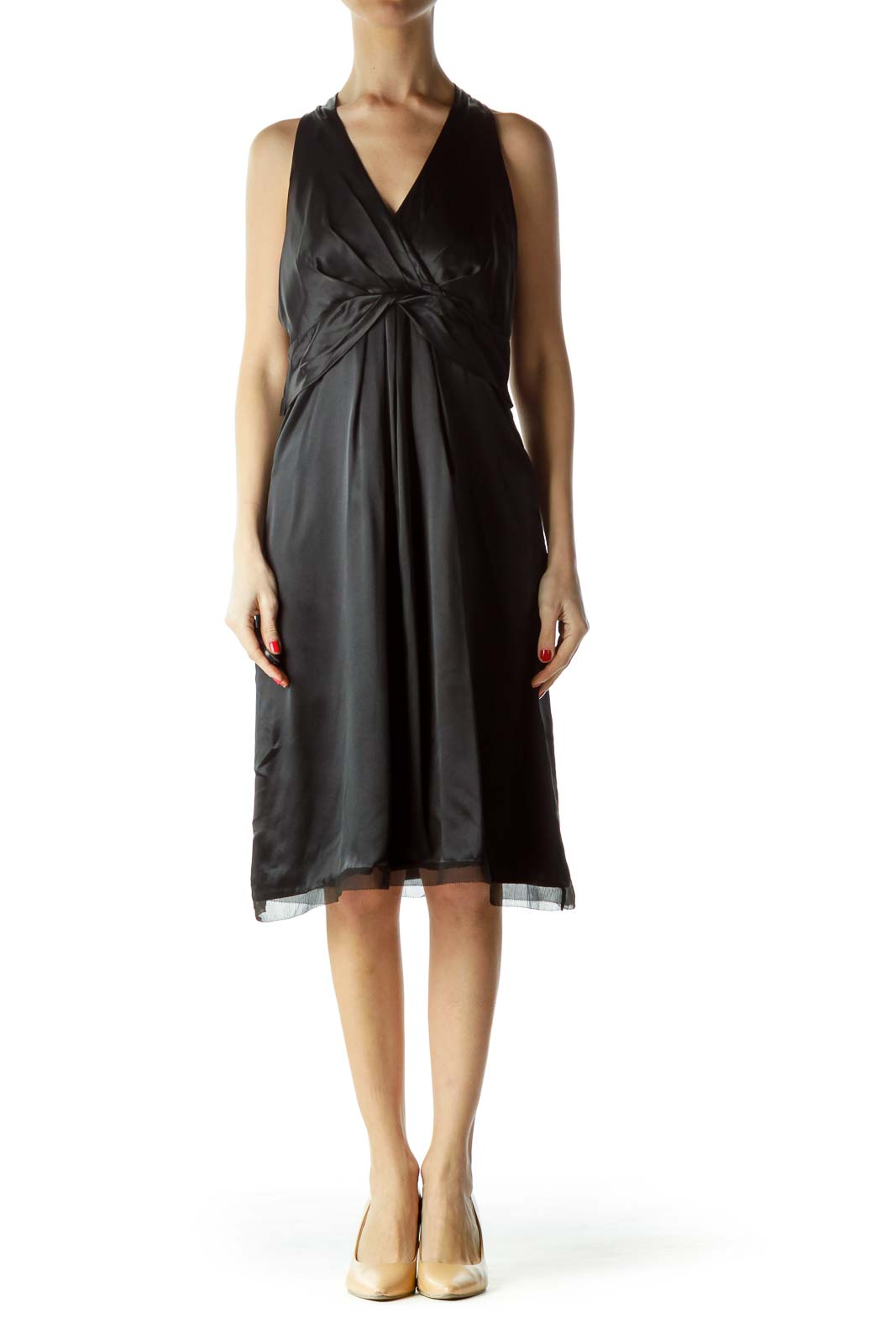 Black Halter Neck Pleated Front Cocktail Dress
