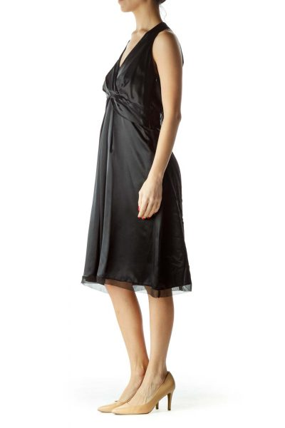 Black Halter Neck Pleated Front Cocktail Dress