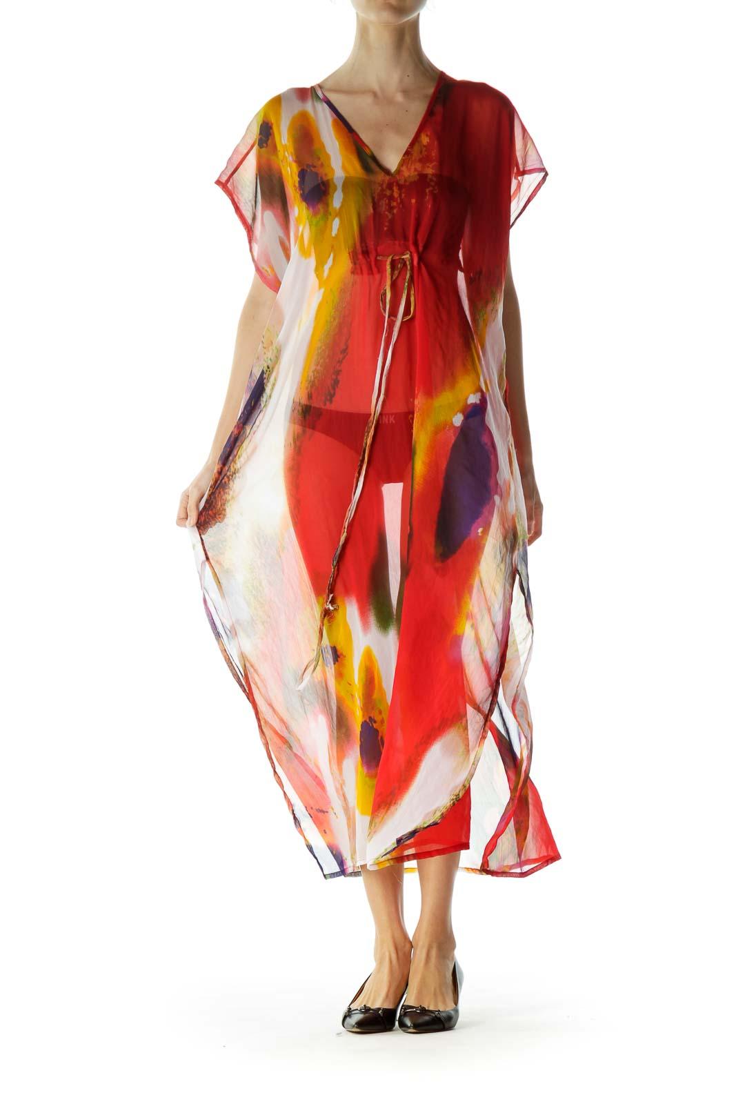 Multicolor Tie Dye Sheer Cover Up