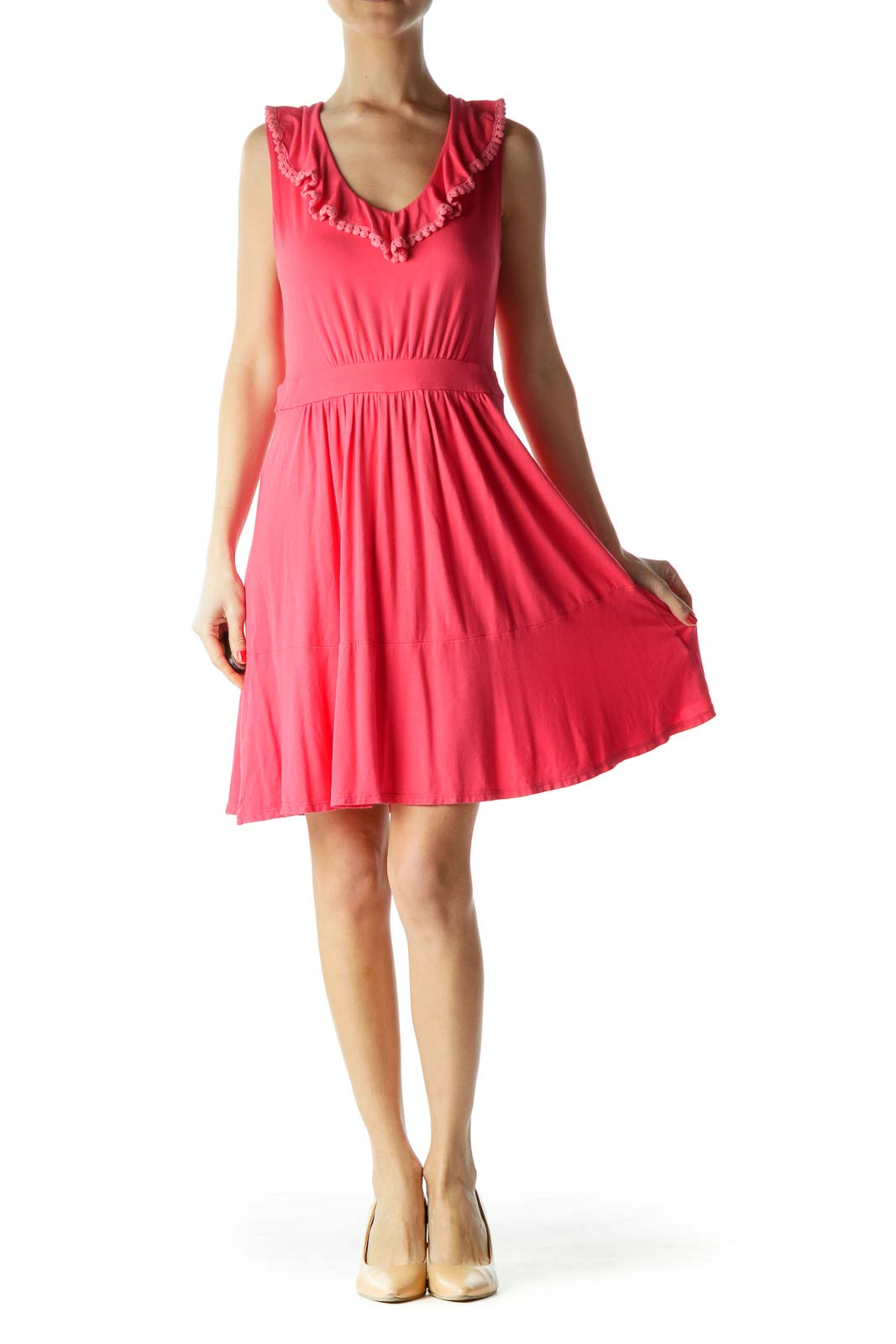 Pink Sleeveless Jersey Dress