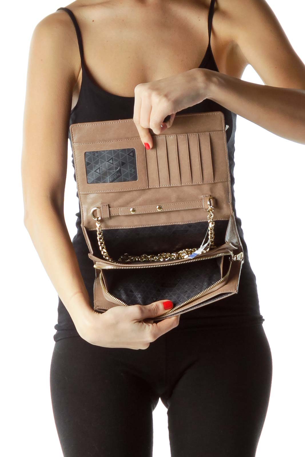 Beige Gold Detail and Chain Leather Clutch