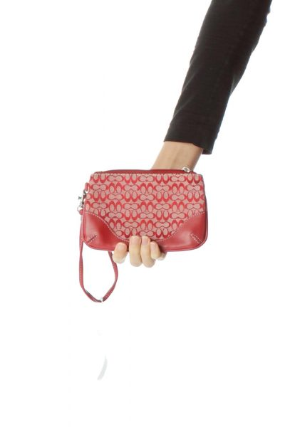 Red White Logo Print Clutch Bag