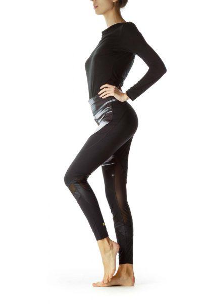 Black Grey Print Sheer Sports Pants