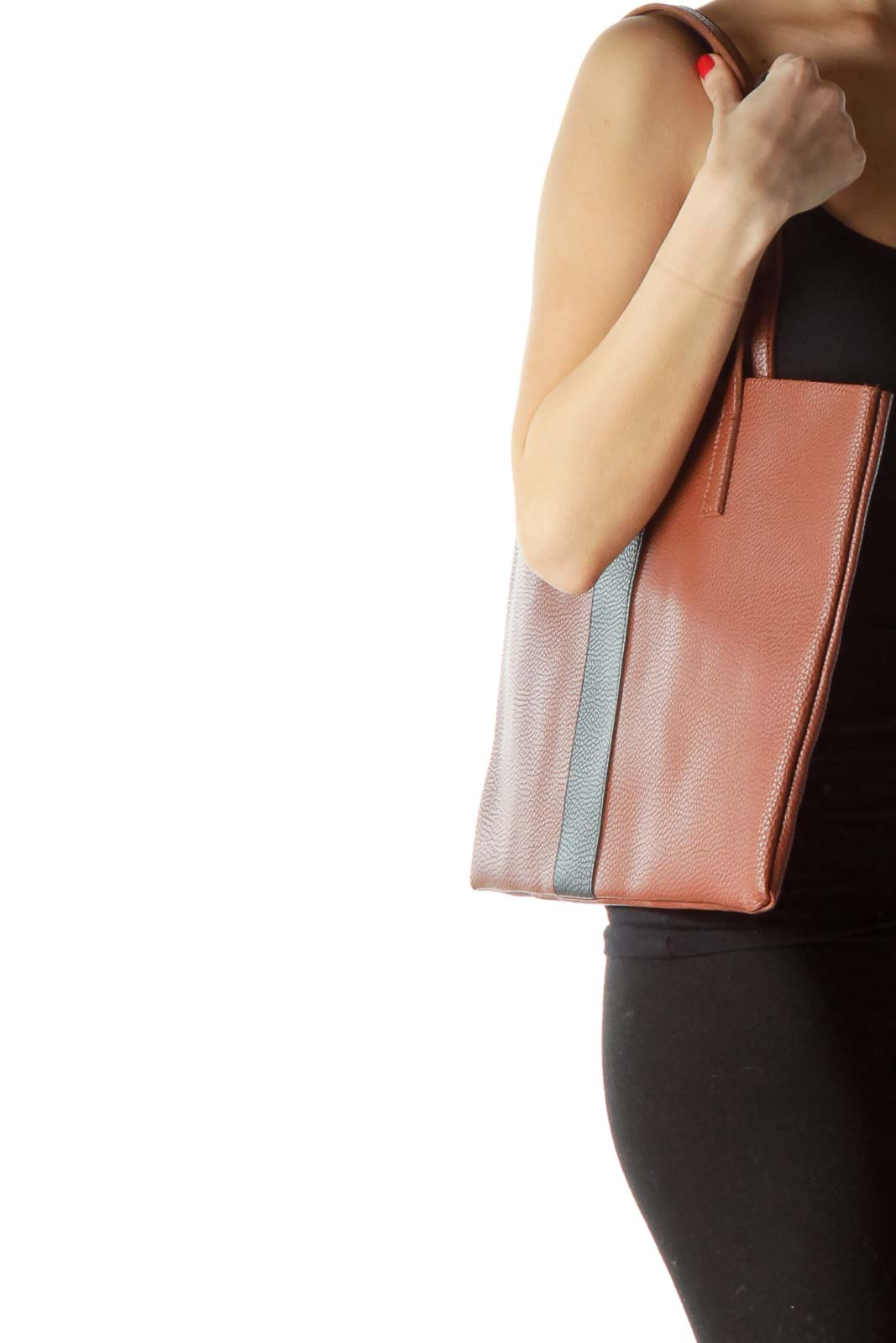 Brown Black Front Stripe Tote Bag