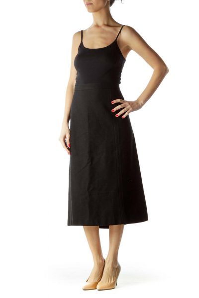 Black Wool Midi A-Line Skirt