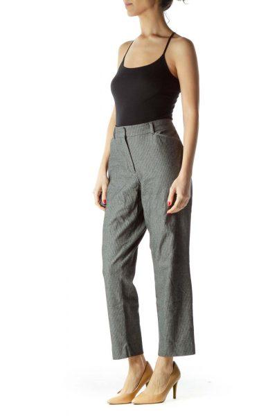 Black White Knit Straight Leg Dress Pants