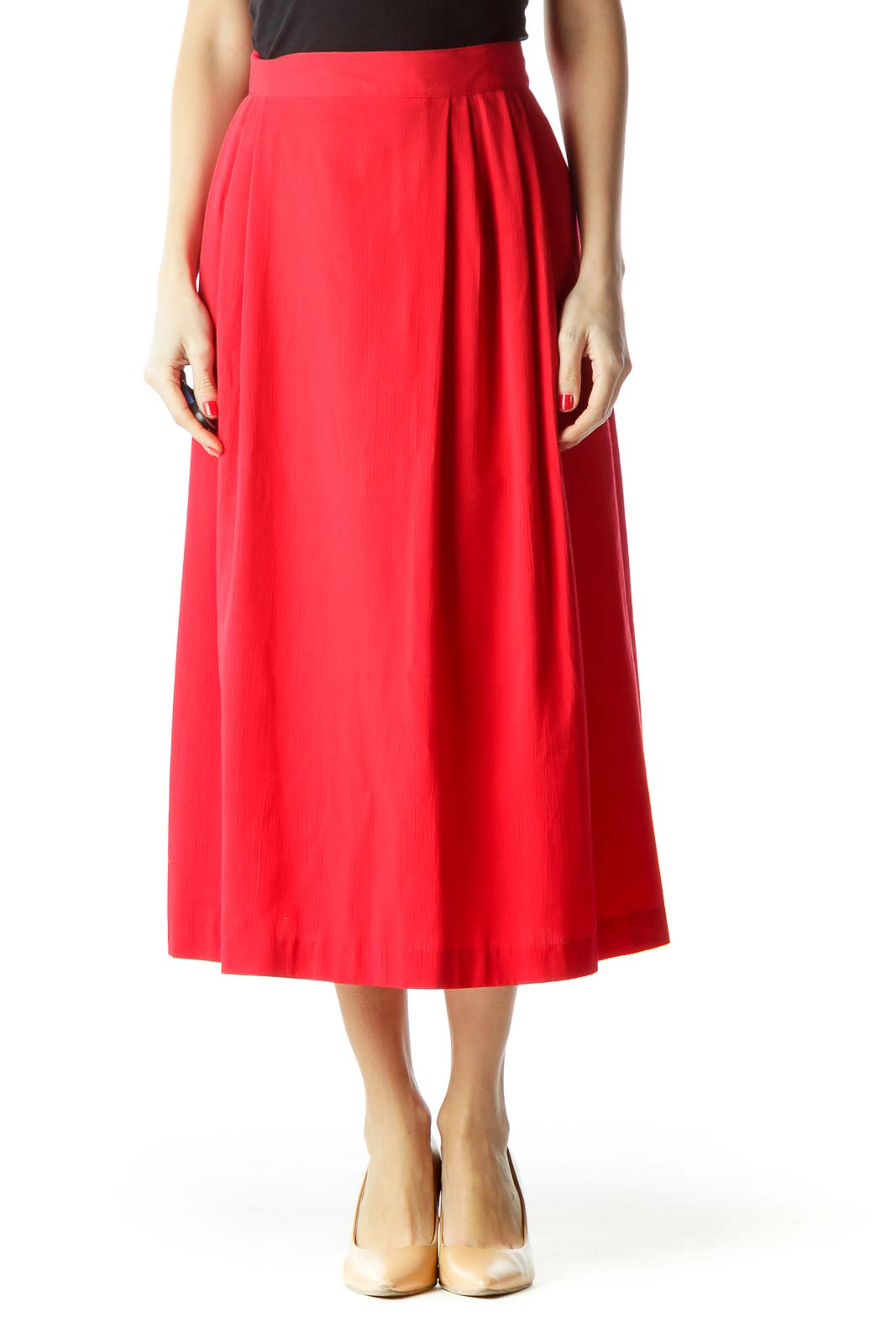 Red Pleated Midi Flared Skirt