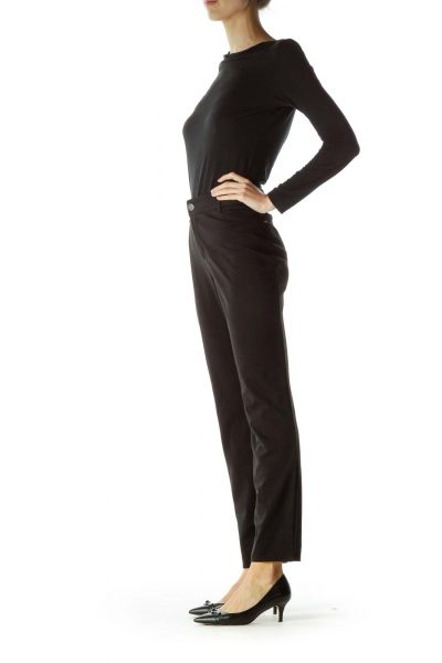 Black Mid Rise Maternity Slim-Fit Pants