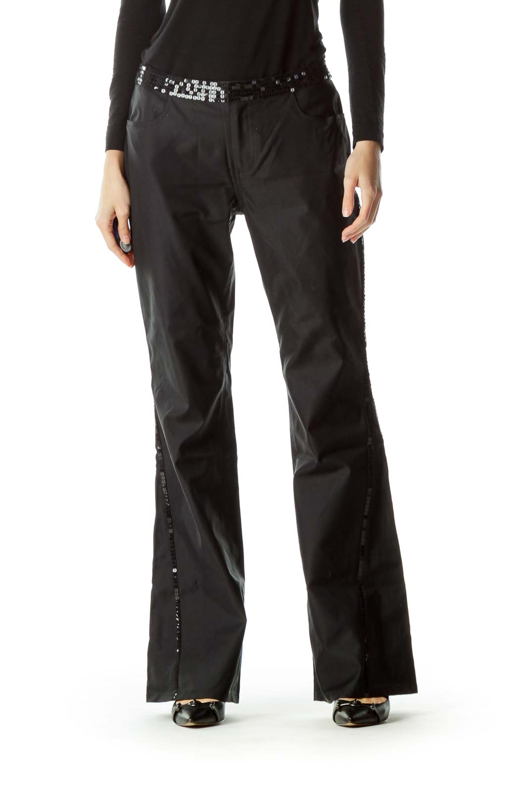 Black Sequin Detail Wide Leg Pants
