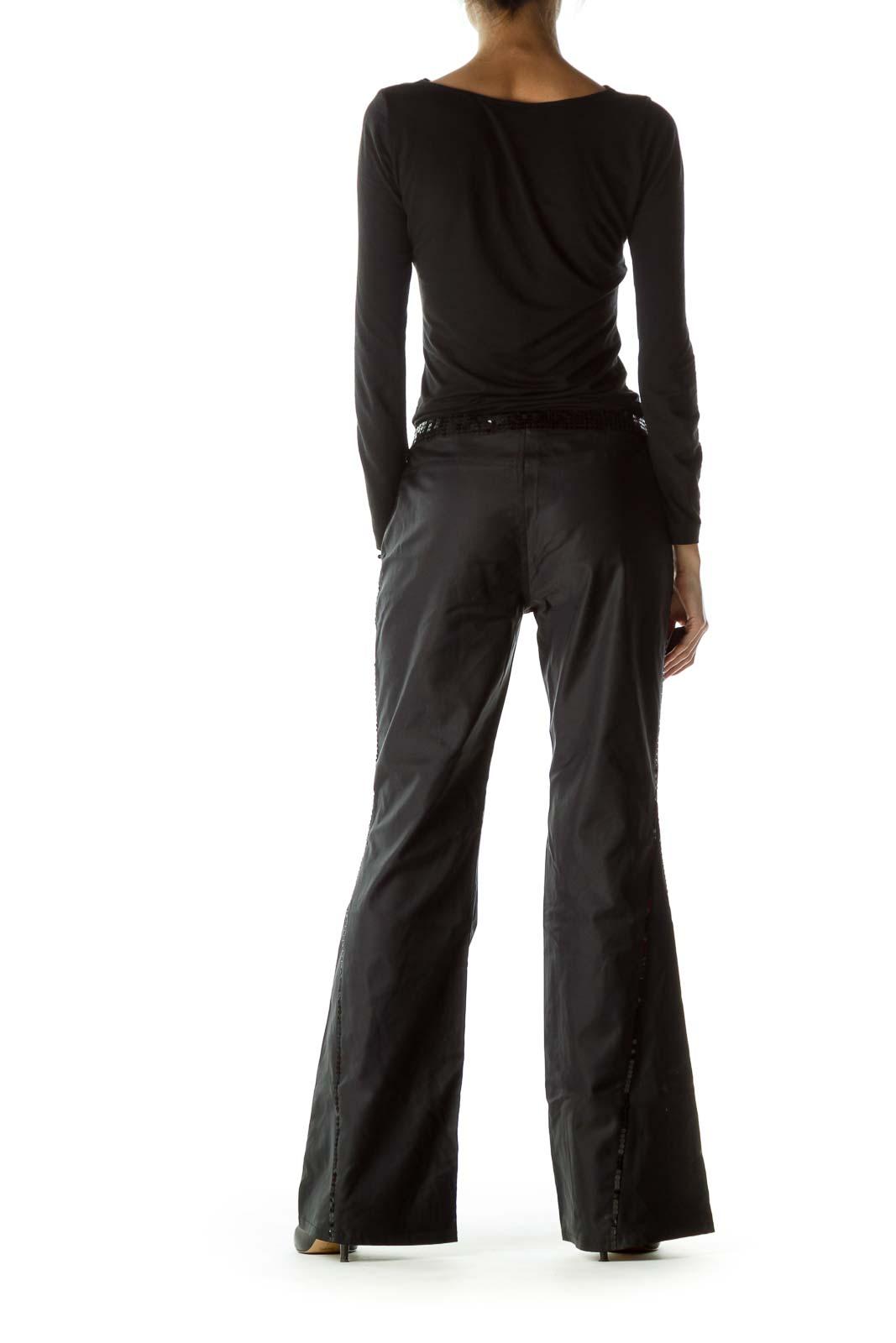 Black Sequin Detail Wide Leg Pants