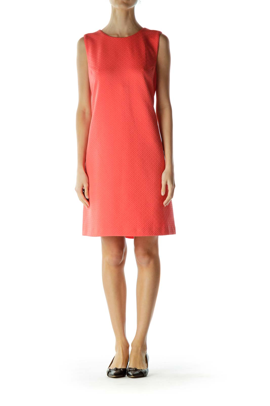 Coral Sleeveless Shift Dress