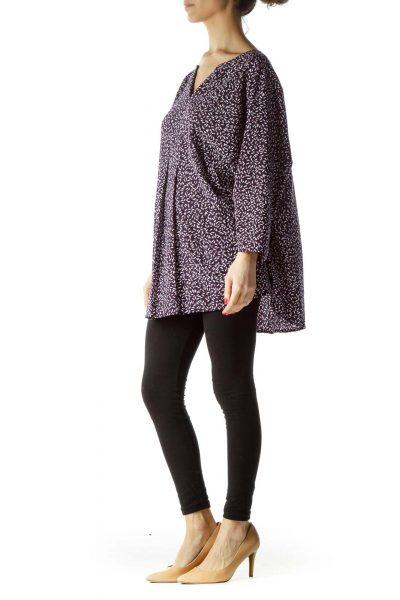 Purple Print 3/4 Sleeve Front Pleated Blouse