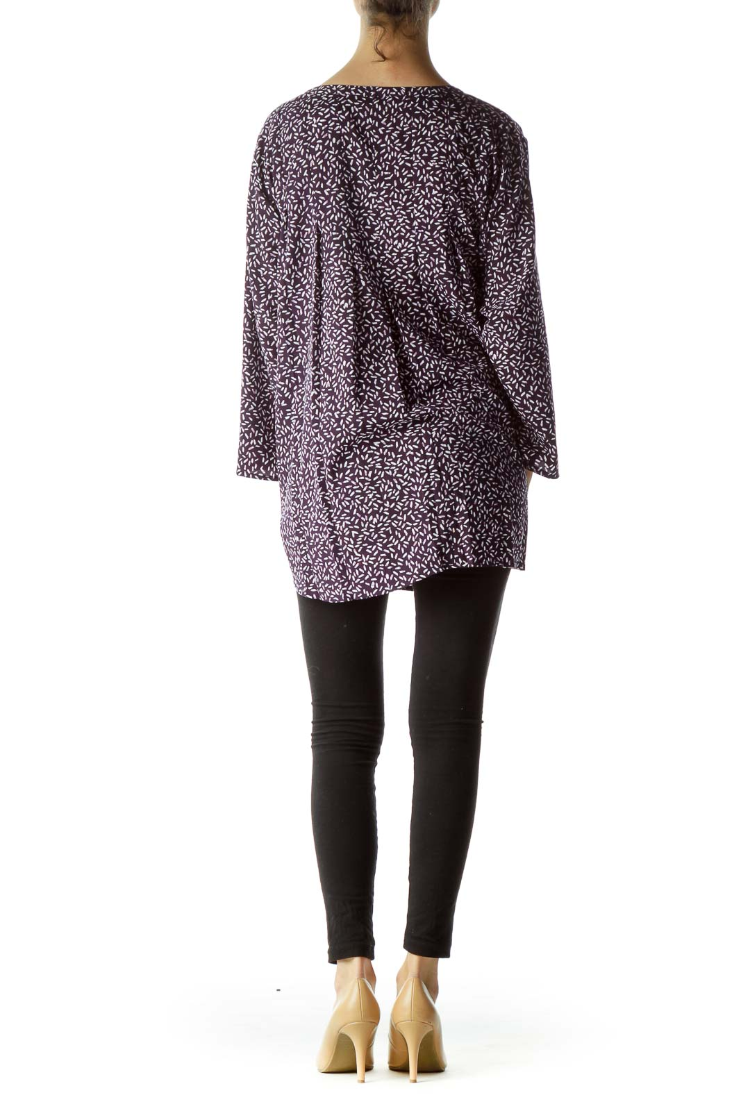 Purple Print 3/4 Sleeve Front Pleated Blouse