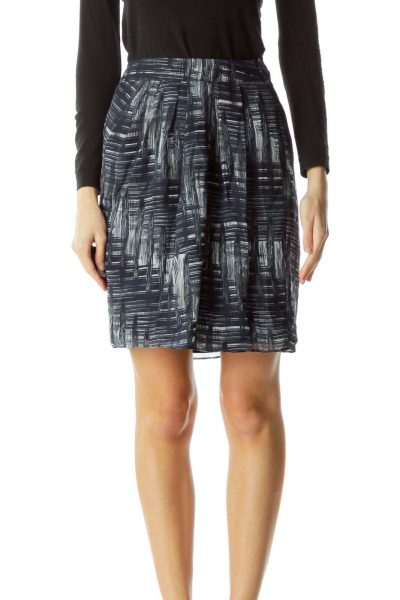 Blue White Gray Print Slitted Skirt