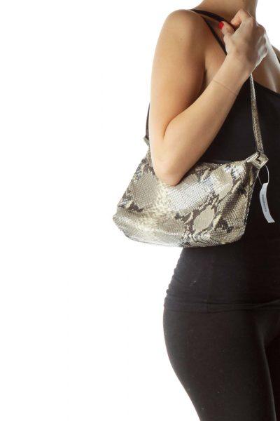 Green Black Faux Python Skin Shoulder Bag