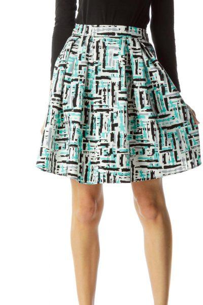 Blue White Gray Print Flared Skirt