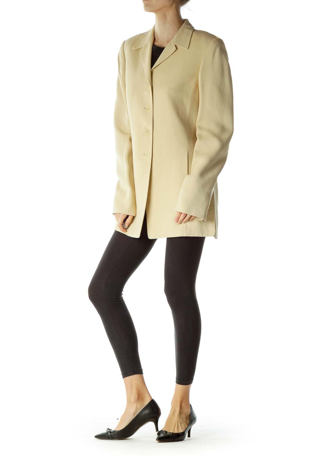 Beige Buttoned Long Blazer