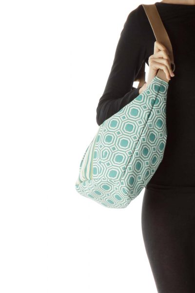 Blue Cream Multicolored Shoulder Bag