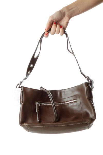 Brown Buckle Shoulder Bag with Tassle
