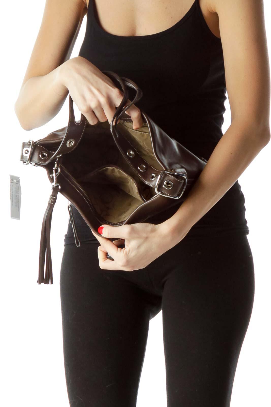 Brown Buckle Shoulder Bag with Tassle