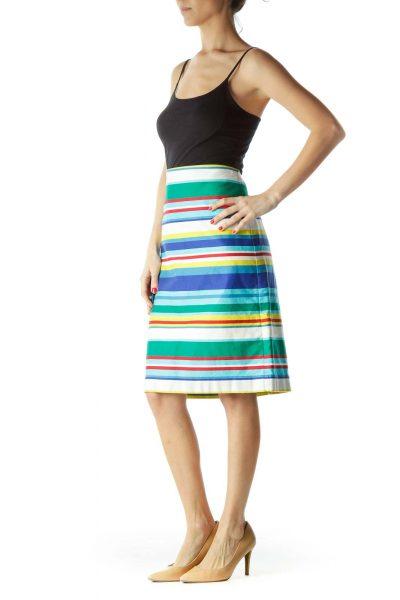 Multicolor 100% Cotton Striped Skirt