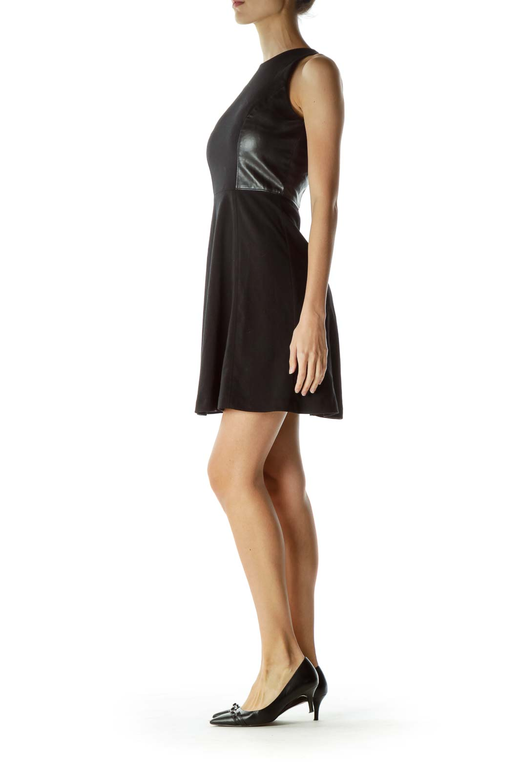 Black Faux-Leather Detail Day Cocktail Dress