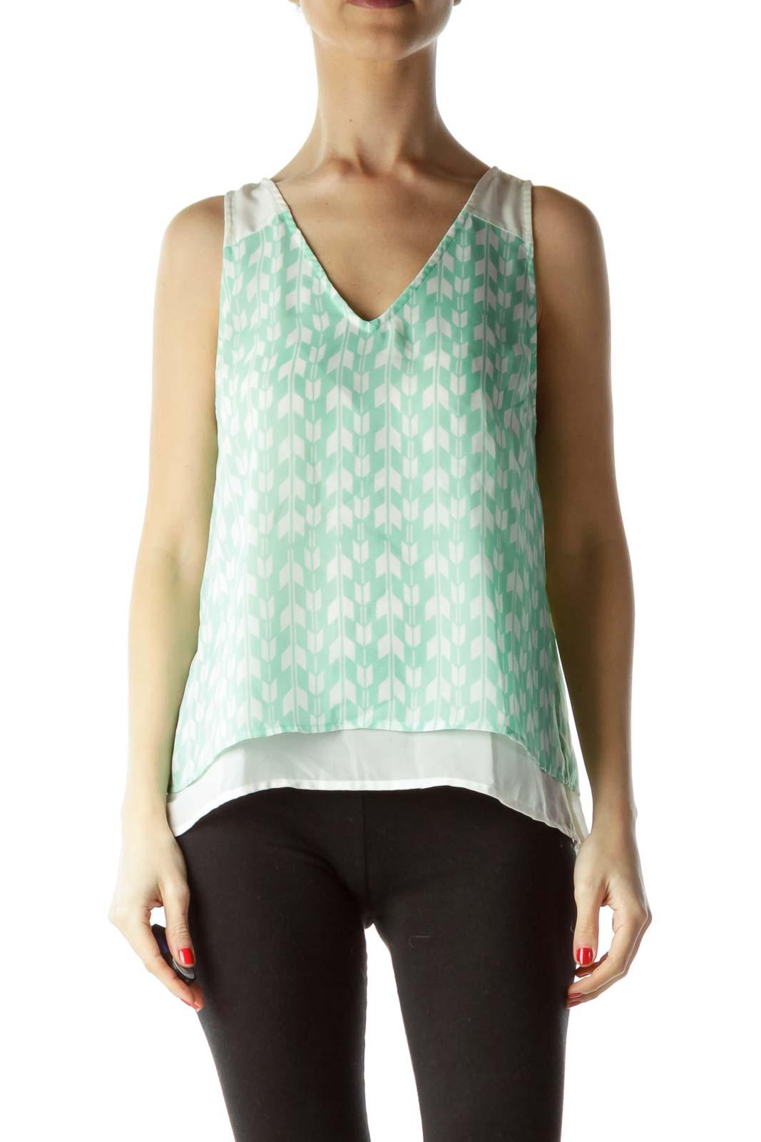 Green Cream Print Sleeveless Blouse