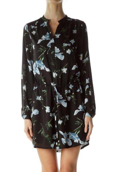Black Floral Drawstring Day Dress