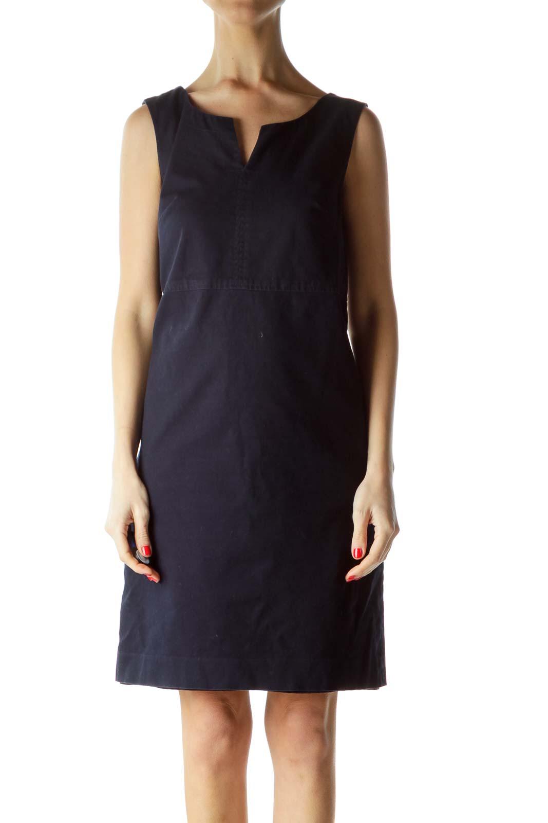 Blue Textured Sleeveless Day Dress