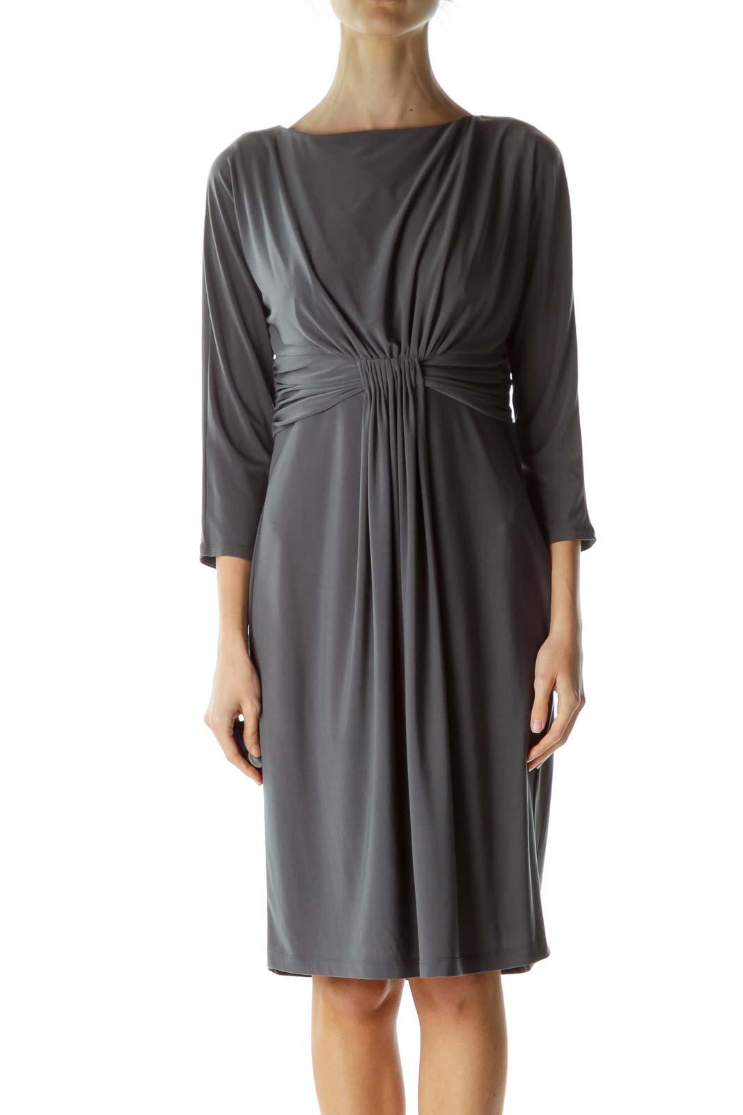 Gray Scrunch Waist Boat Neck Dress