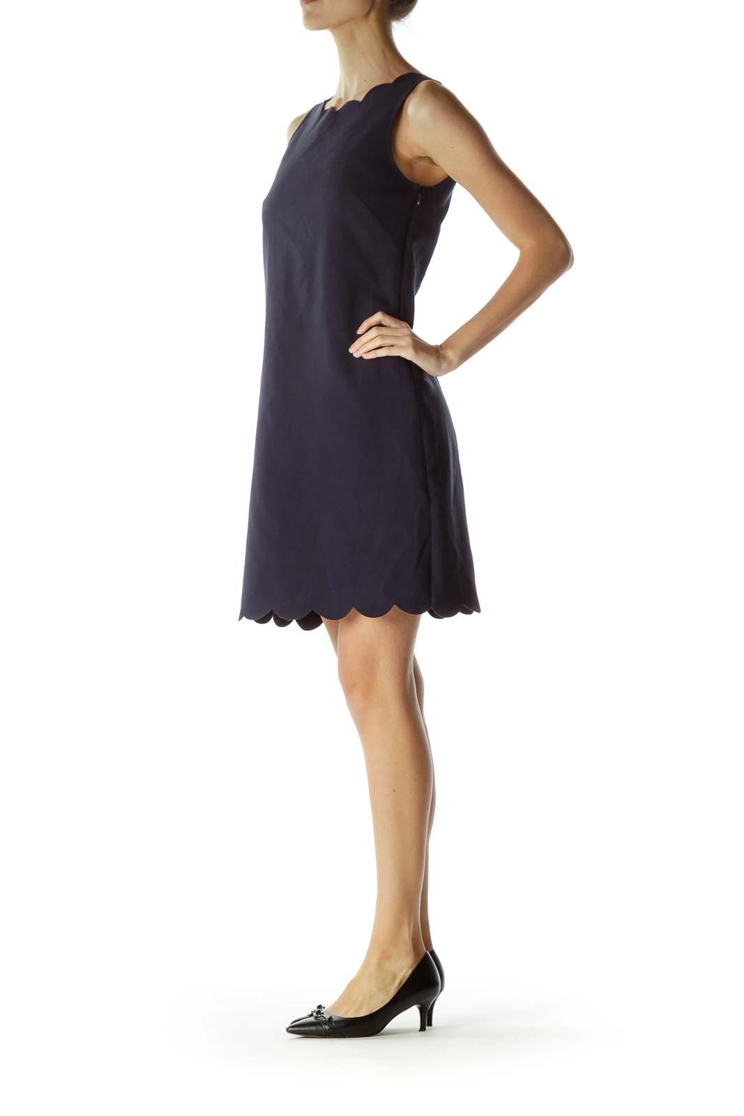 Navy Scalloped Sheath Dress